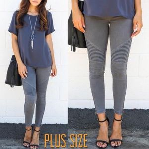 Pants - Plus Size Charcoal Ankle Zip Moto Pant